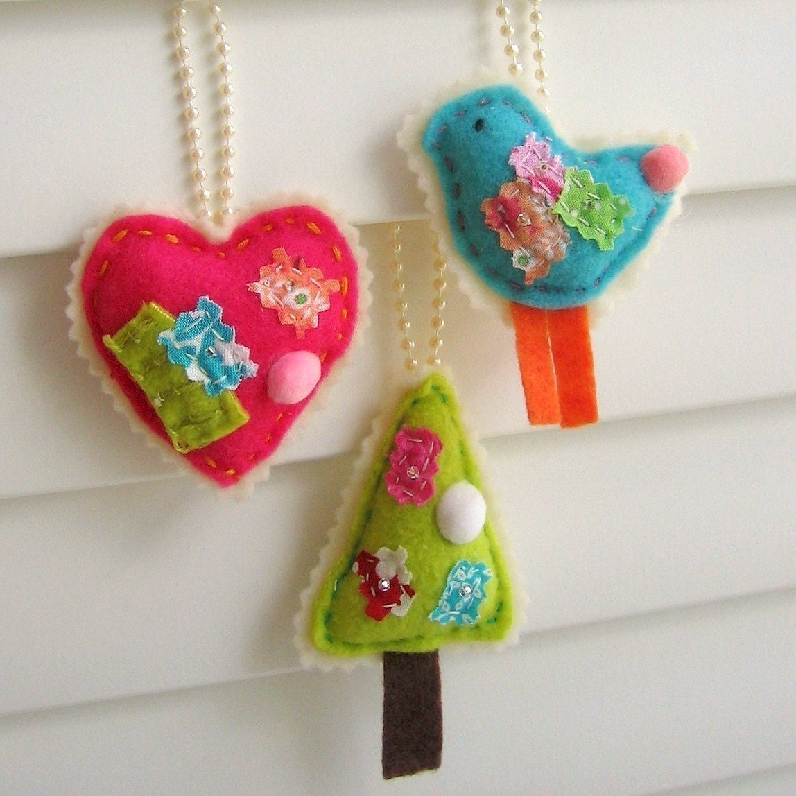 Hand Sewn Felt and Fabric Scrap Ornaments, Decorations - Birdie, Heart, Tree, Set of 3