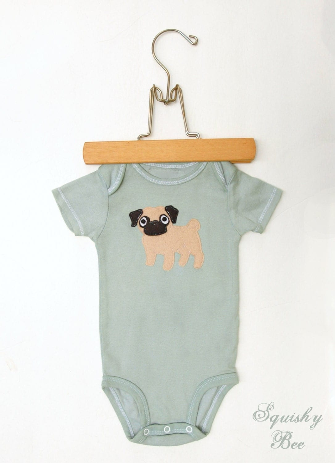 Hand Dyed Sage Green Pug Puppy Dog Bodysuit Short Sleeve size 6 months READY TO SHIP - SquishyBee