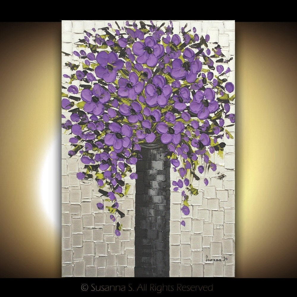 Original modern art large abstract purple flowers bouquet palette knife oil painting by Susanna 36x24