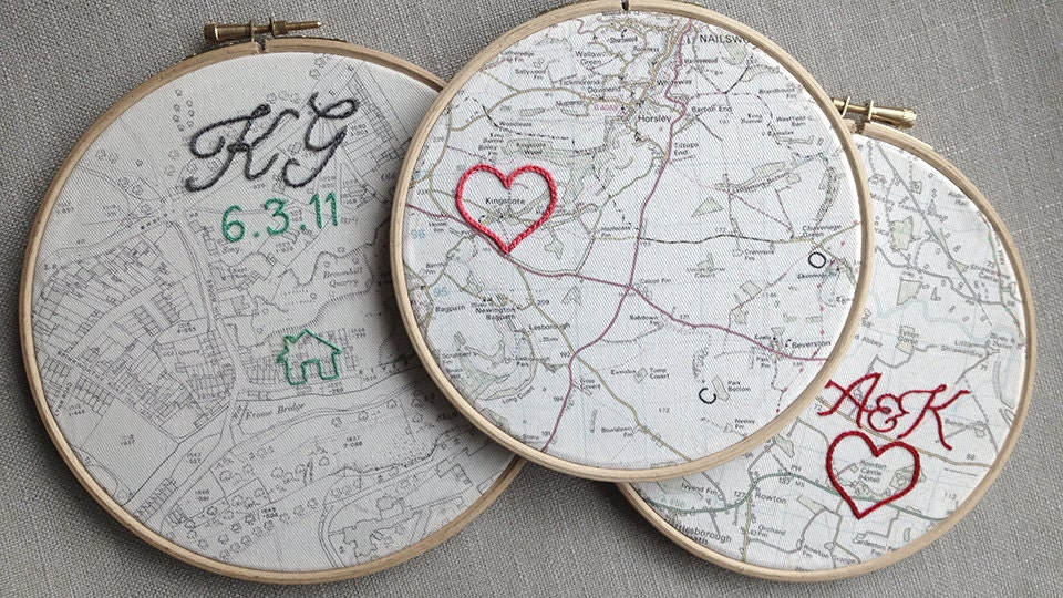 Wedding Anniversary Gift Ideas Cotton : Cotton wedding anniversary gift: Made-to-order embroidered cotton map ...