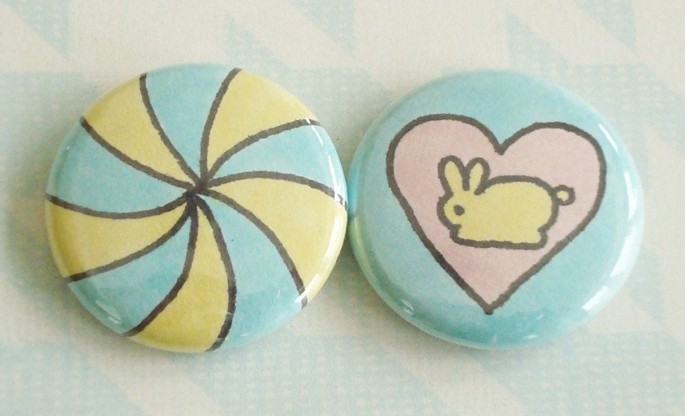 Hand-Drawn Buttons (Set of 2) - Peppermint Bunny