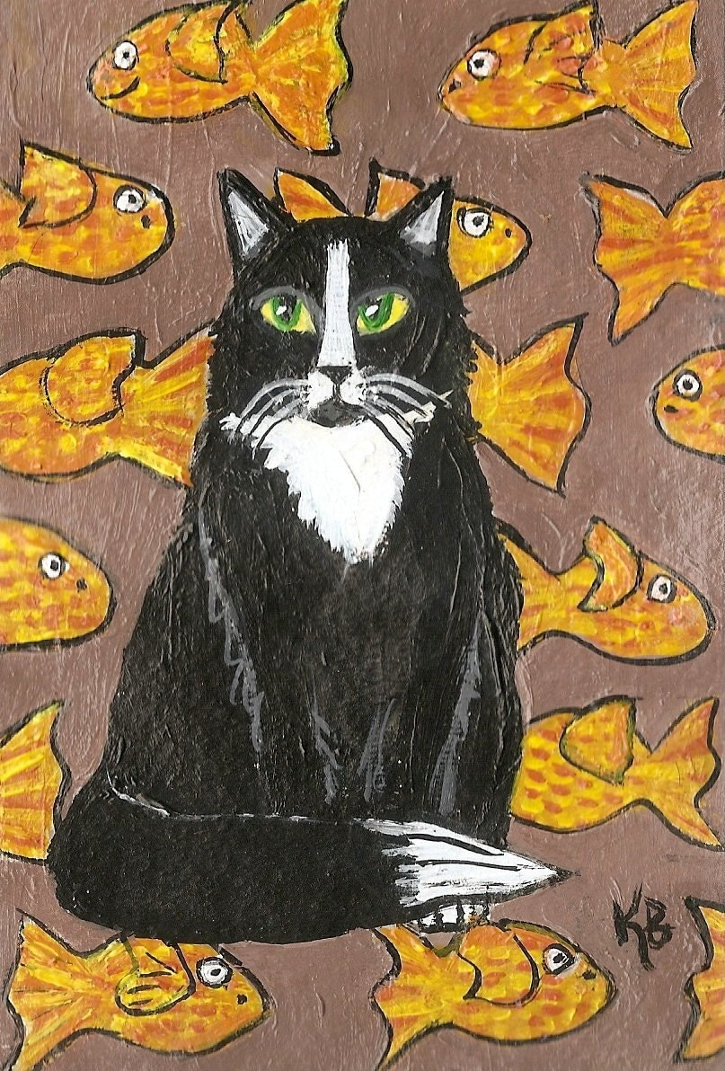 Tuxedo Cat and Fishies, Original Painting by Kimba