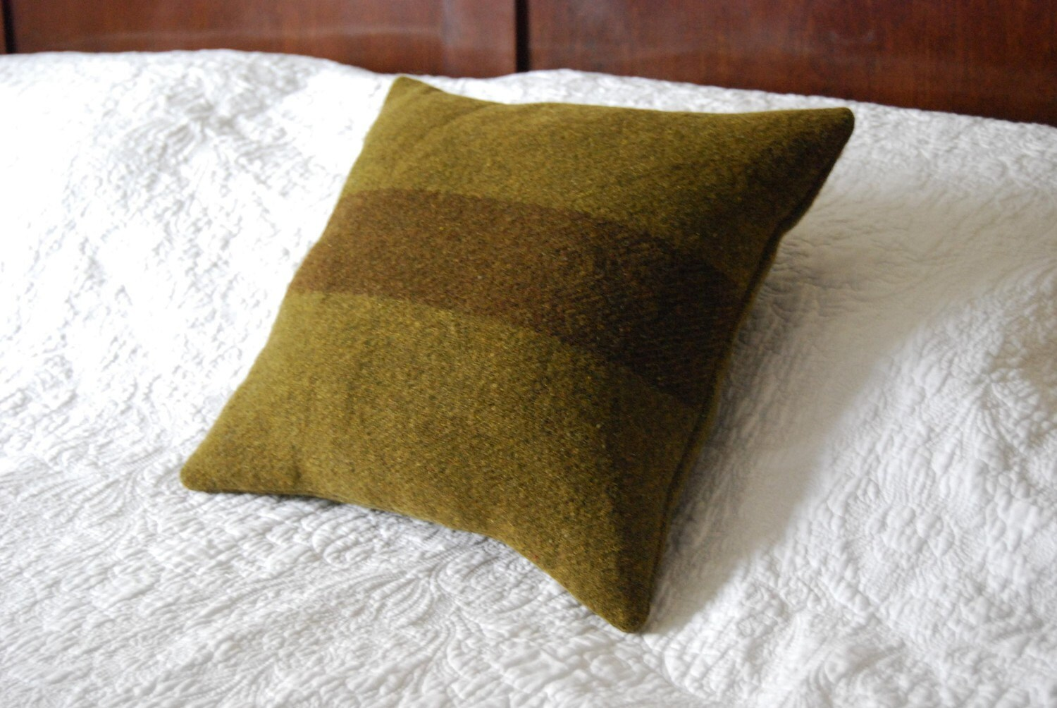 Green vintage army blanket cushion with kapok, 12 x 12