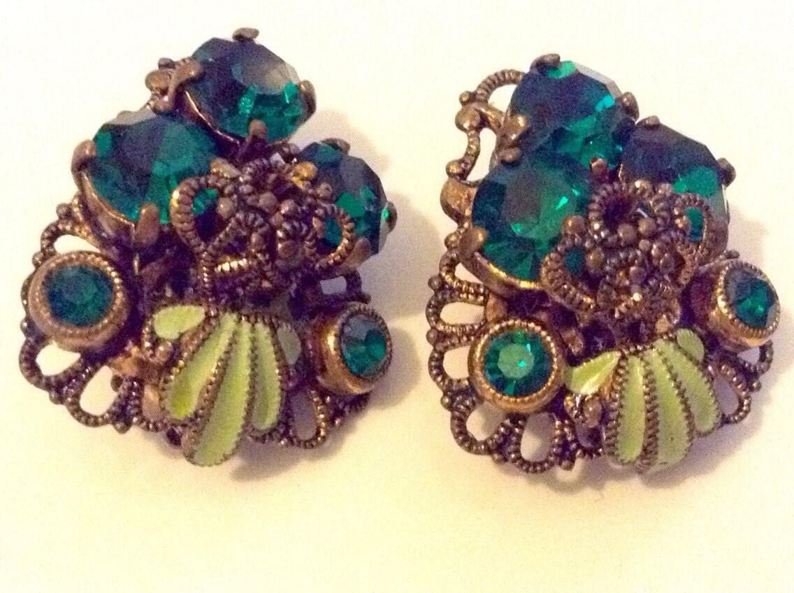 Art Deco Brass Filigree Enamel And Green Czech Glass Clip On Earrings