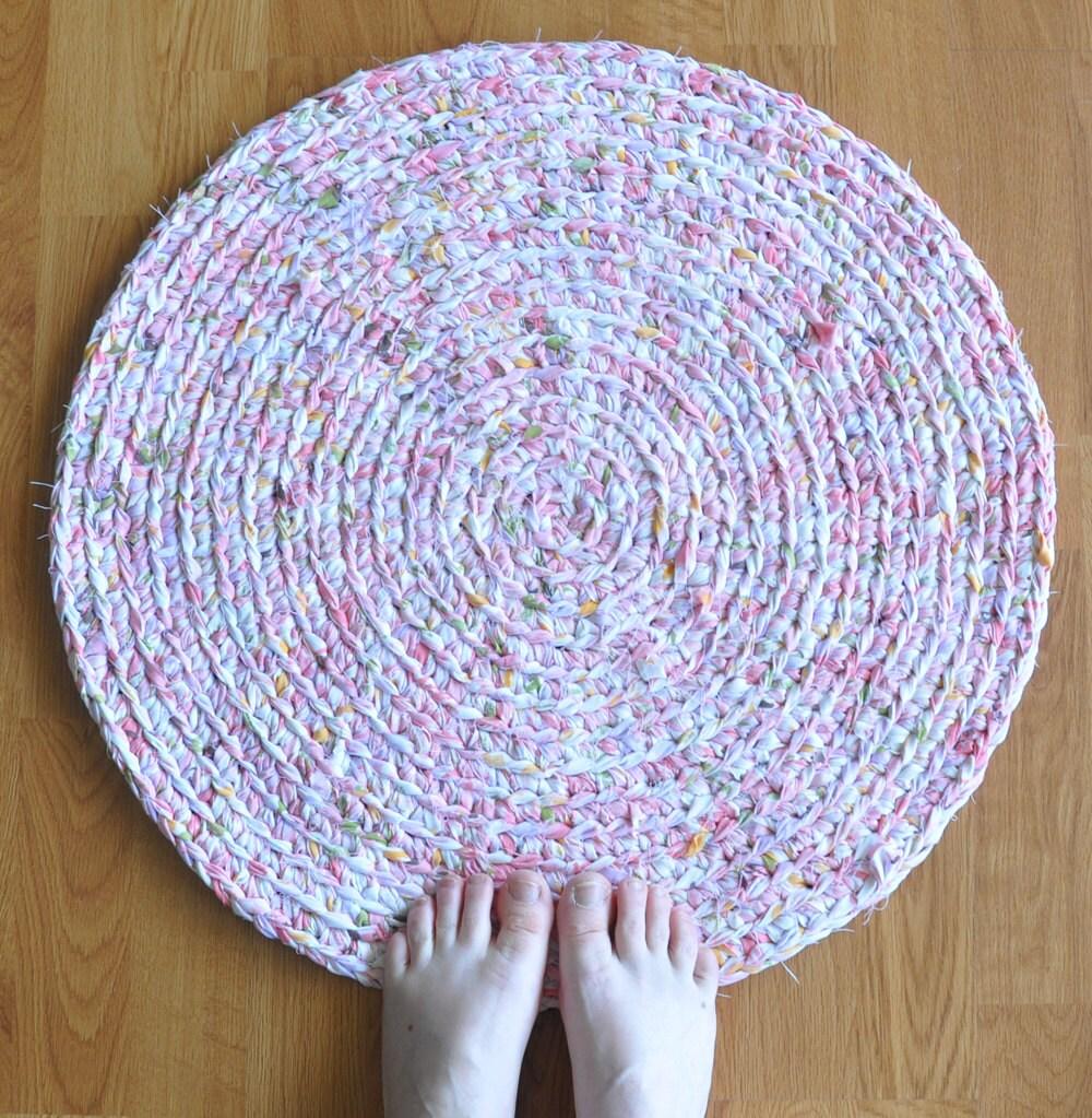 Baby Nursery Rug Pink Area Rag Rug Crochet Washable By Ekra