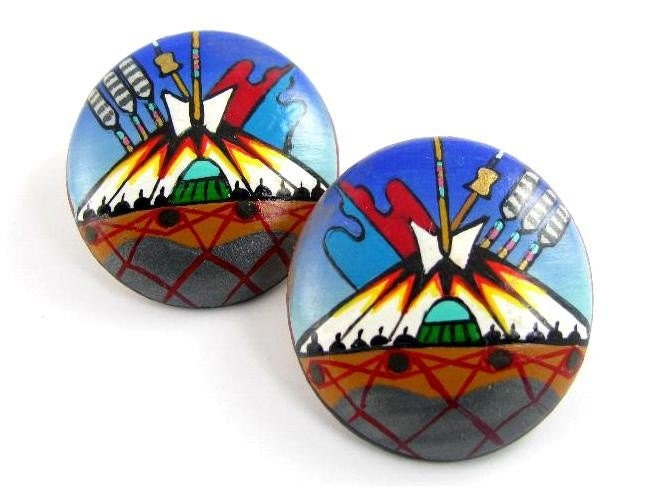25% off SALE F. Hardy Painted Earrings Pottery Indian Teepee