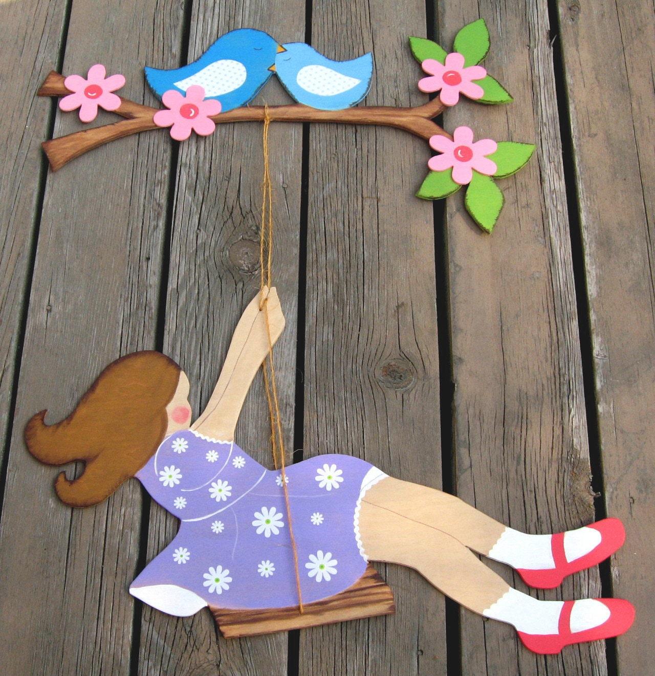 Древесина стен Mural Девушка Размахивая Bluebird Cherry Blossom ветвь дерева экологию по Storytime АРТ