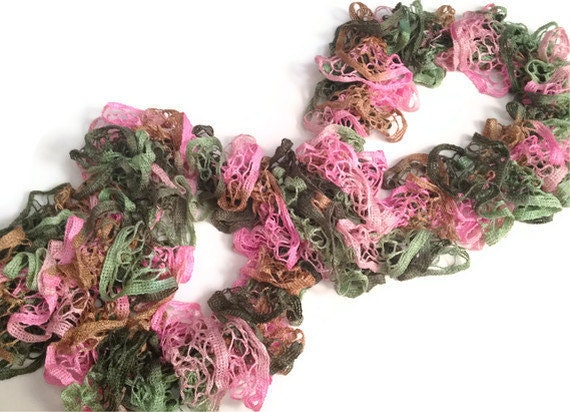 clearance ruffle scarf in pink and green by madebymegshop