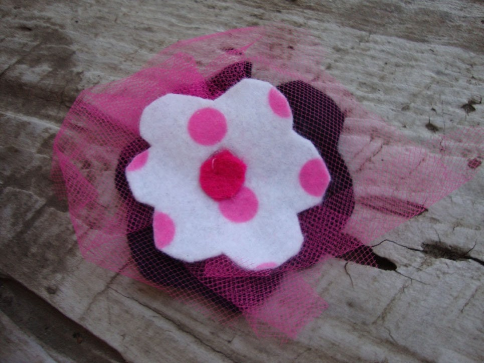 Adorable Girl's Black, White and Pink Polka Dot Felt Flower Clip With Tulle