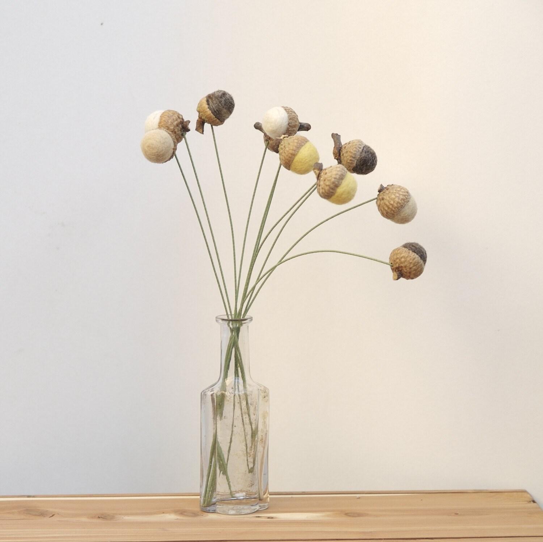 10 Floral Decorations -  Wool Acorn Flower Arrangement Accessories.