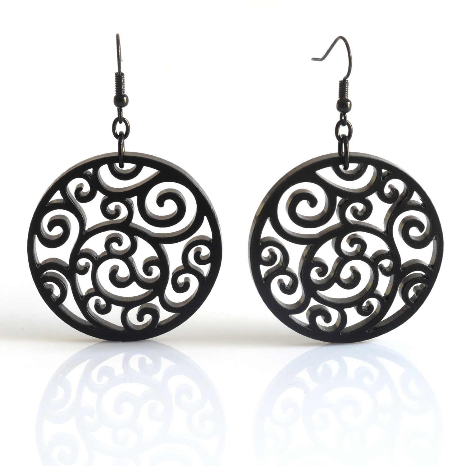 items similar to black lasercut acrylic earrings