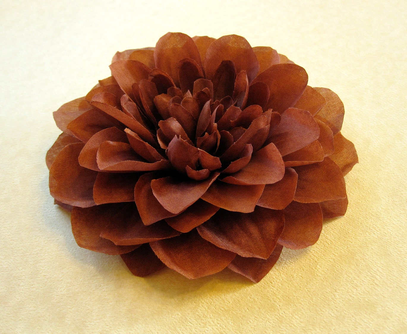 Fabric Flower Hair Accessory: Pin, Hair Clip, or Fascinator - Chocolate Brown Dahlia - Large - HairFair