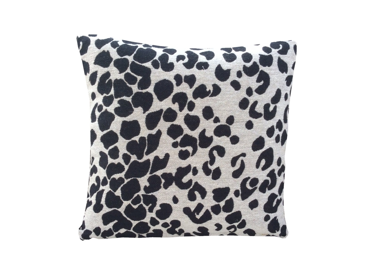Stunning beige  black spotted animal print hand made pillow case cushion cover made from chenille interior fabric HomeSofaLoungeKitchen