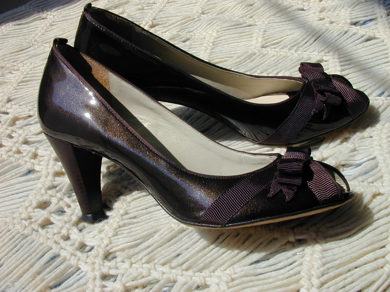 SALE VTG Chocolate Sparkle Peep Toe Pumps by Antonio Melani 8 1/2