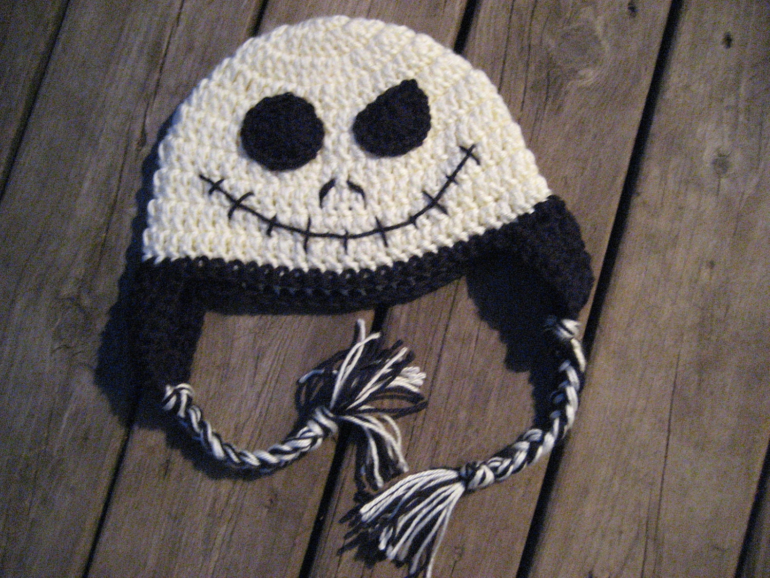 Crochet Pattern For Jack Skellington Hat : Items similar to Crochet Earflap Hat - Jack Skellington ...