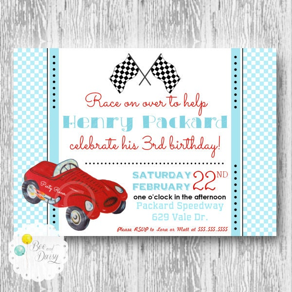 vintage race car invitation for birthday party or baby shower boys