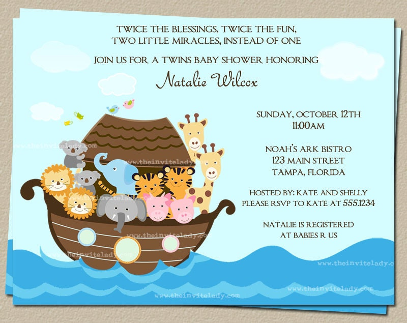 noahs ark baby shower invitations for twins or one child set of 10