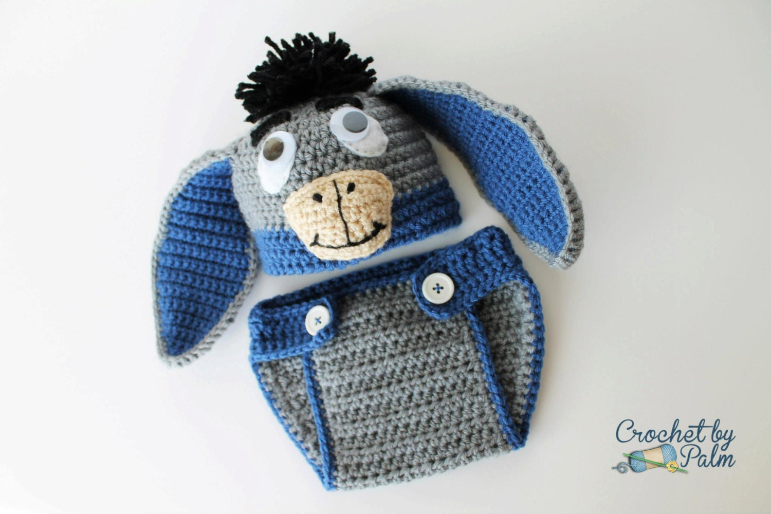 Free Crochet Pattern Donkey Hat : Crochet Baby Donkey Hat and Diaper Cover Set by ...