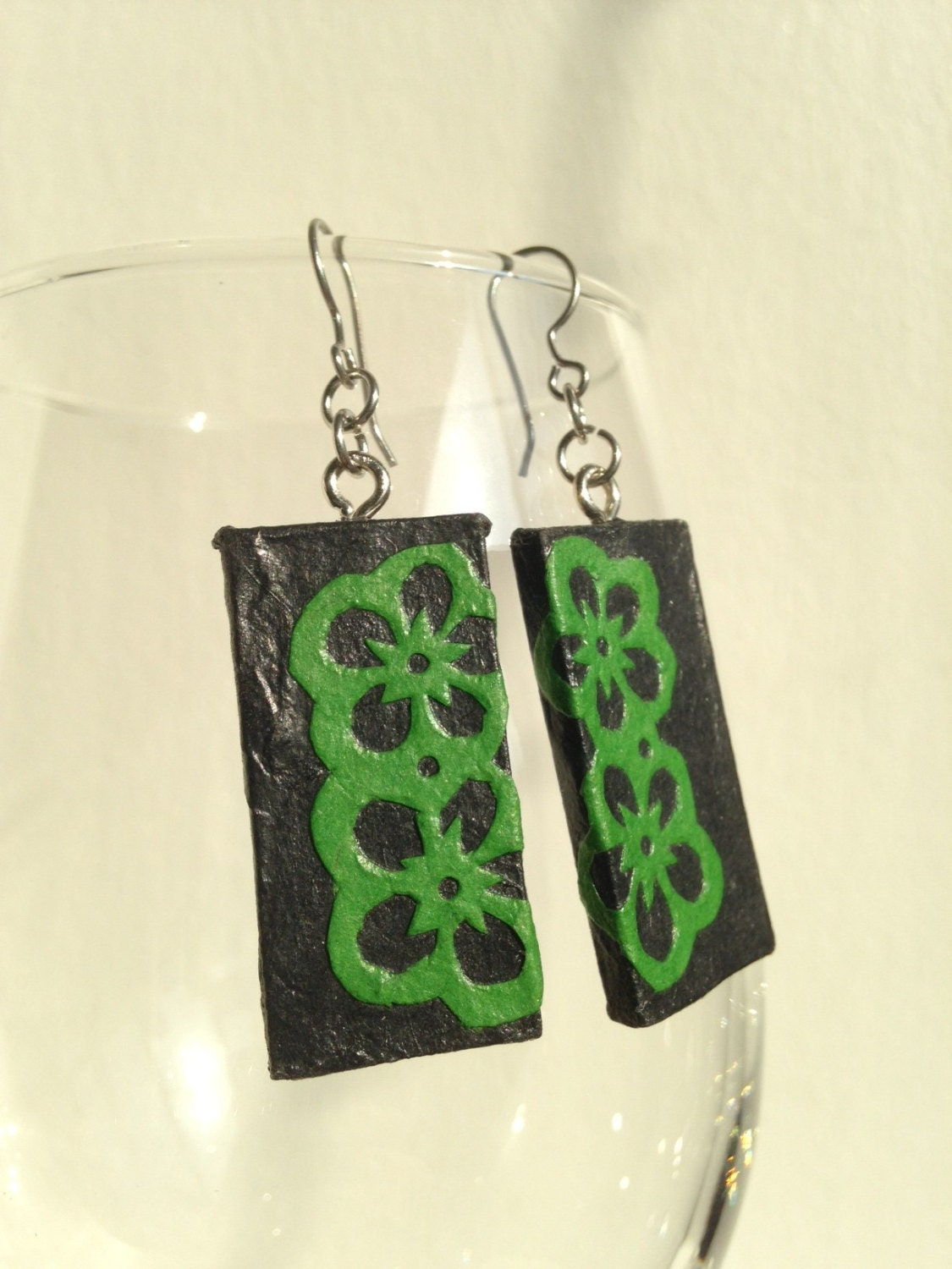Black Green Handmade Hanji Paper Dangle Earrings Flower Design Hypoallergenic hooks Lightweight Ear rings - HanjiNaty