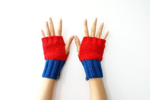 Fingerless Gloves, Mittens, Wrist Warmers in Red Blue - WhiteNoiseMaker