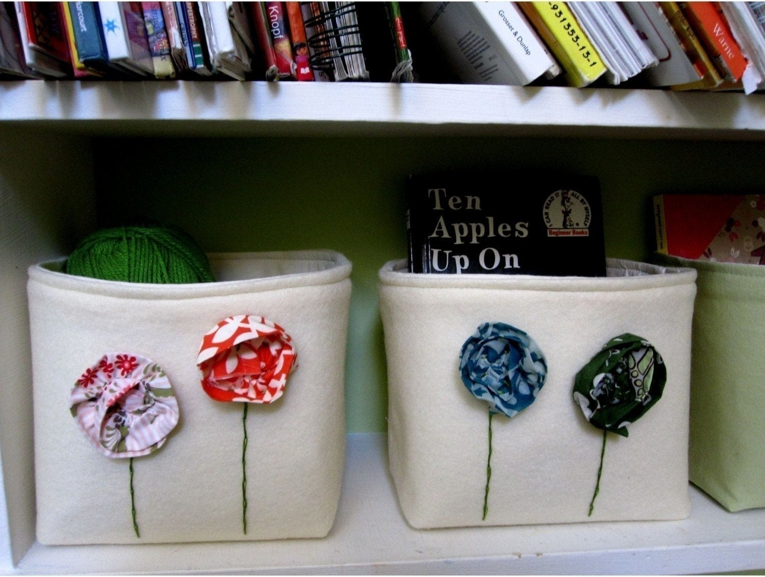 As Seen In Pregnancy and Newborn Magazine Bohemian Poppies Fabric Bins In Cream  Recycled Felt Fabric  With Flowers Set of Two Upcycled Book Ends