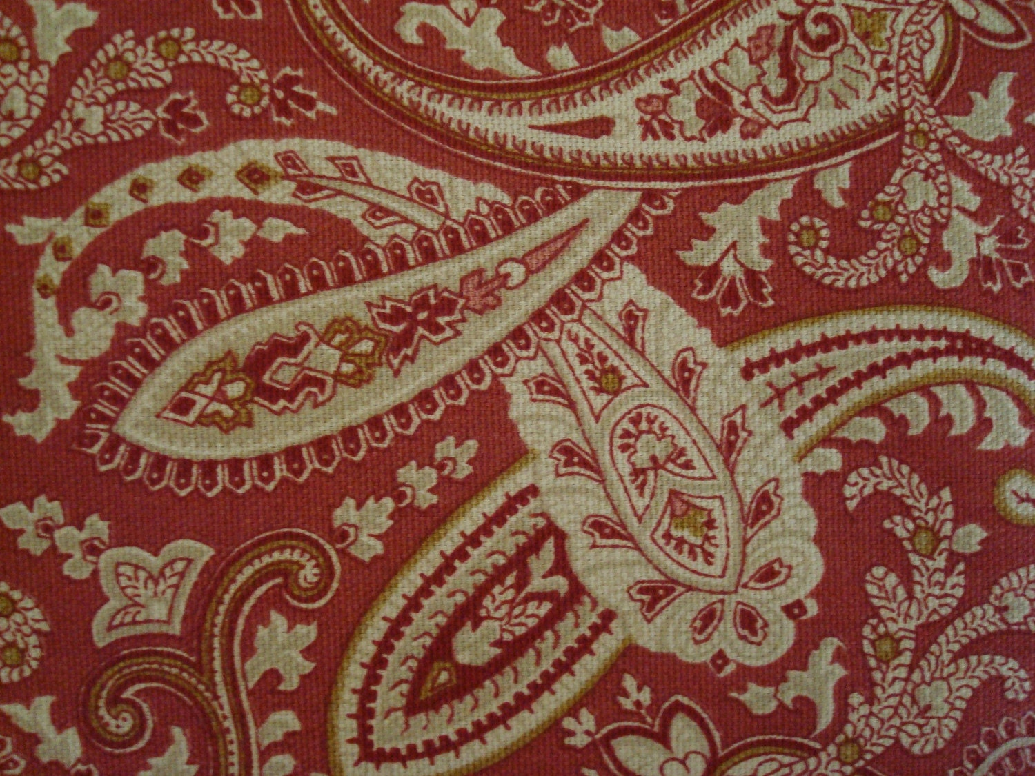 Cotton Upholstery Fabric, Paisley Deep Rose Pink Fabric, 2 Yards