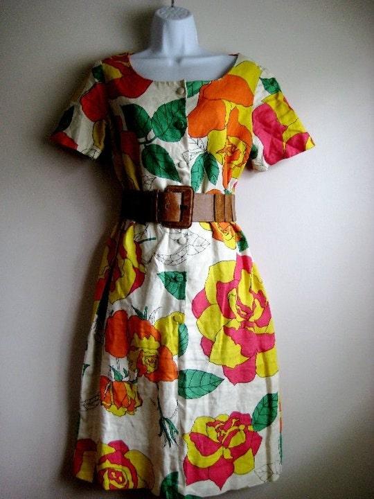 60s PSYCHEDELIC GARDEN Dress Sz L/XL