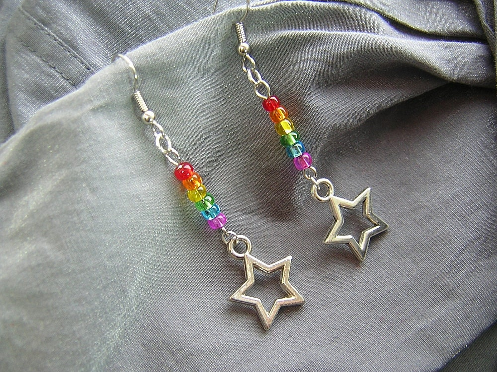 Rainbow Star Dangle Beaded Earrings - Handmade by Rewondered D225E-00011 - $12.95