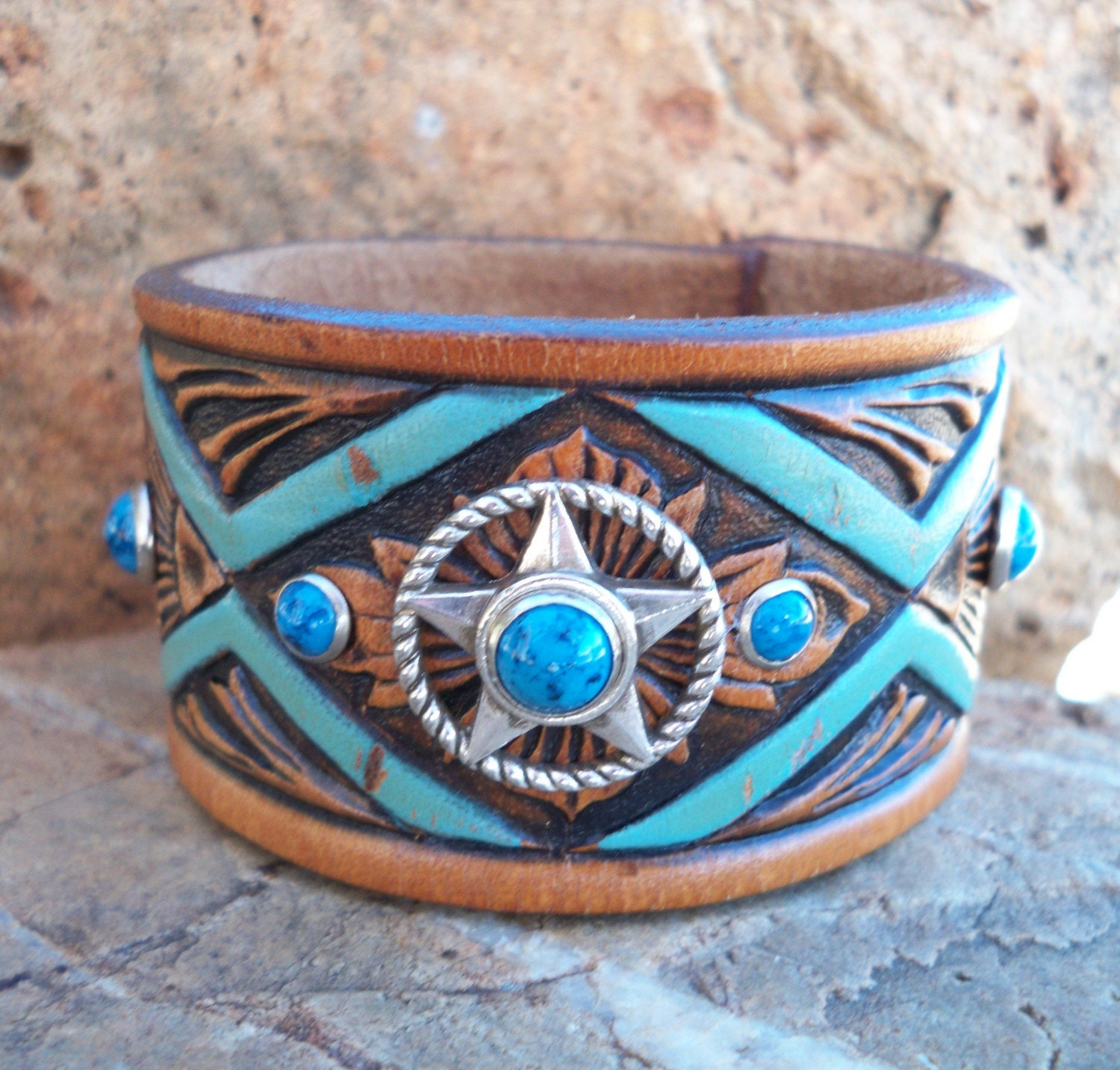 Etsy :: HeartofaCowgirl :: TURQUOISE TOOLED Leather Cowgirl Cuff from etsy.com