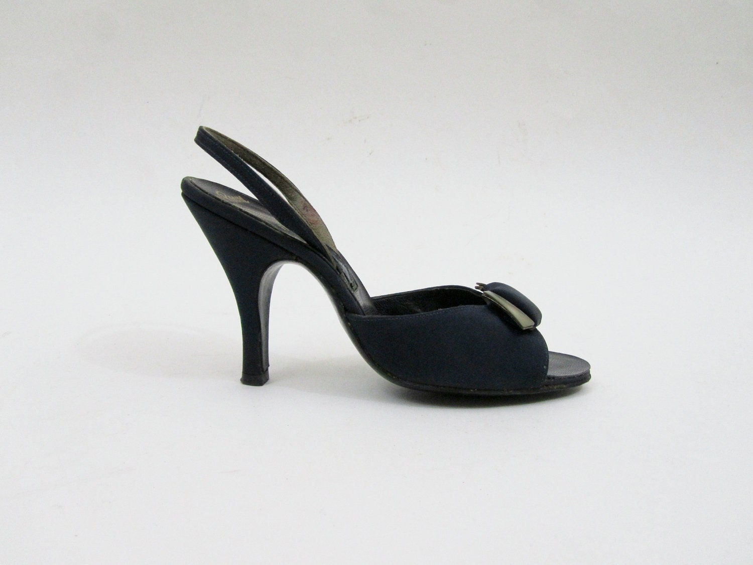 1950s Dress Shoes - Navy Blue Peeptoe / Slingback Heels with Mother of
