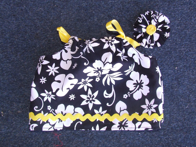 Black, white and yellow girls shirt 3 to 6 months