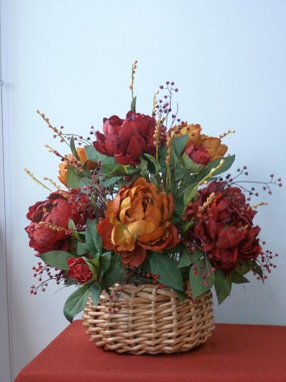 Fall basket centerpiece silk floral red by
