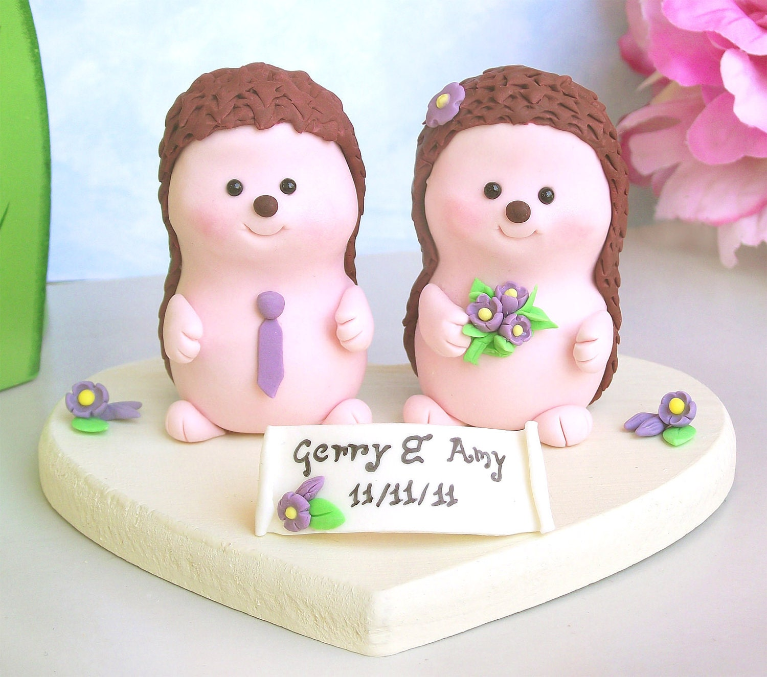 Items similar to Wedding cake topper Hedgehogs cute