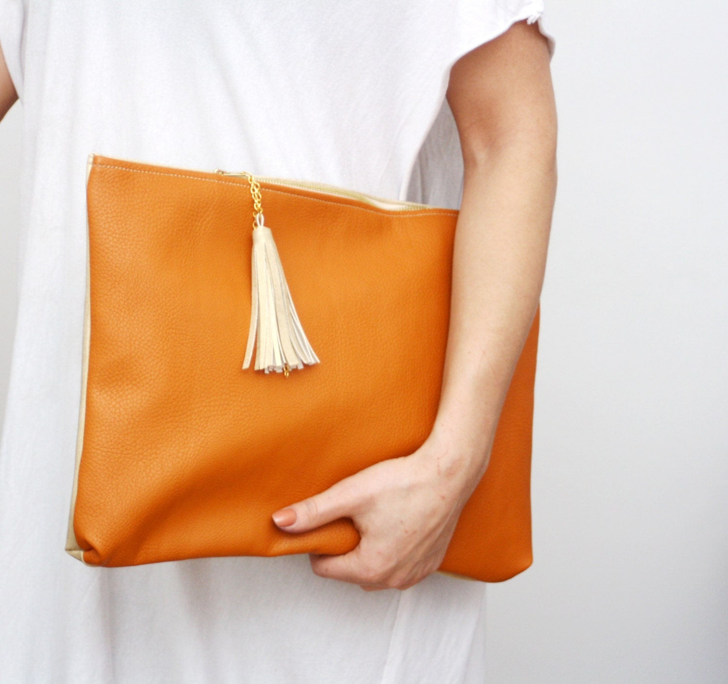 LATTE/ Two color large leather clutch - DDSLLGirlsStore