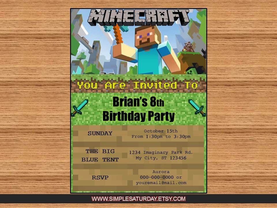 Minecraft Party Invitations is nice invitations template