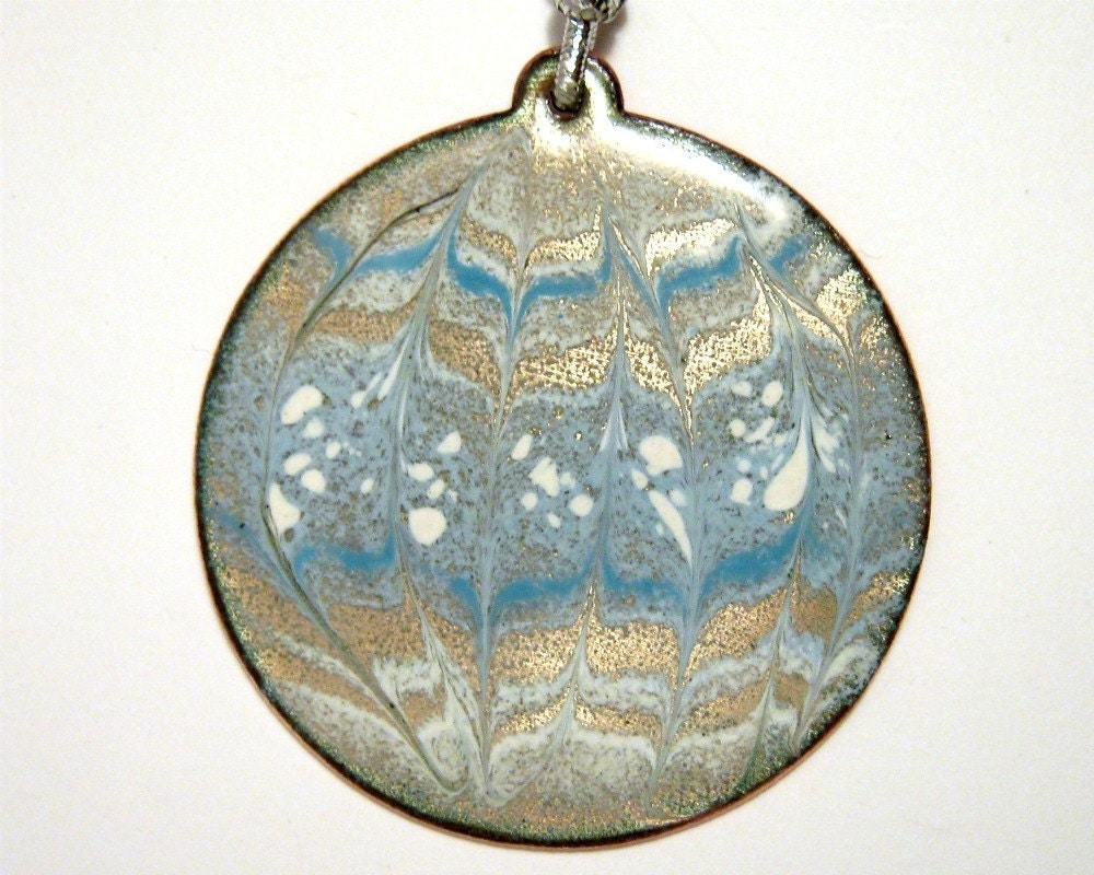 Copper enamel tree ornament - blue and white snow ball - Happy Holidays