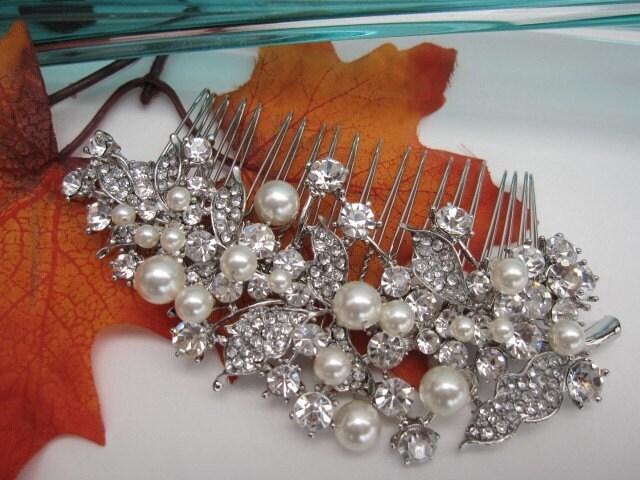 Bridal rhinestone pearl hair comb---head piece, ivory pearl