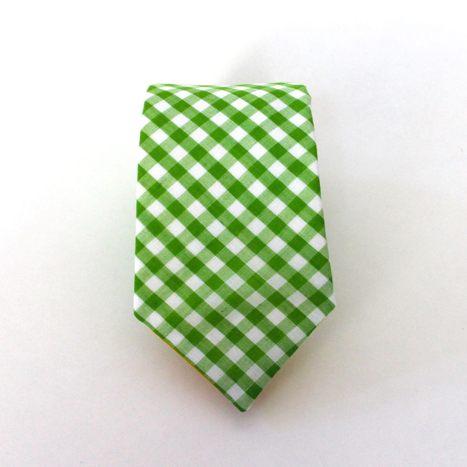 Men's Tie - Lime Green Gingham - Grass Green and White Plaid - HandmadeByEmy