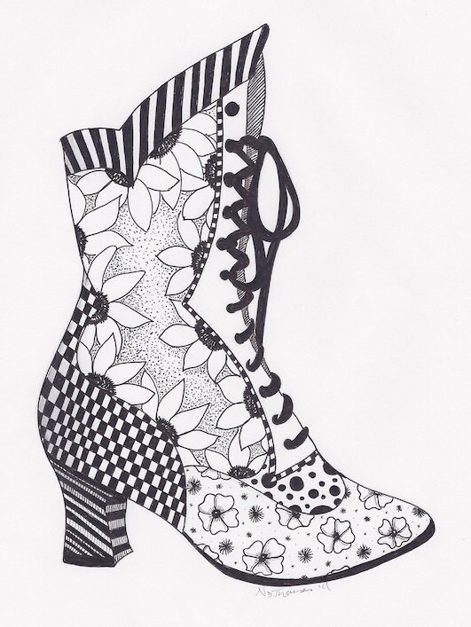 Items Similar To Zentangle Victorian Boot Steampunk