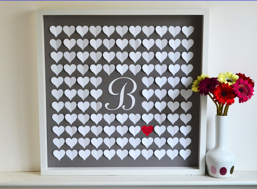 Monogram Wedding Guestbook 3D Hearts and Initial- MEDIUM Wedding Guestbook - Weddings up to 165 guests (Includes  Instruction Card and Pen)