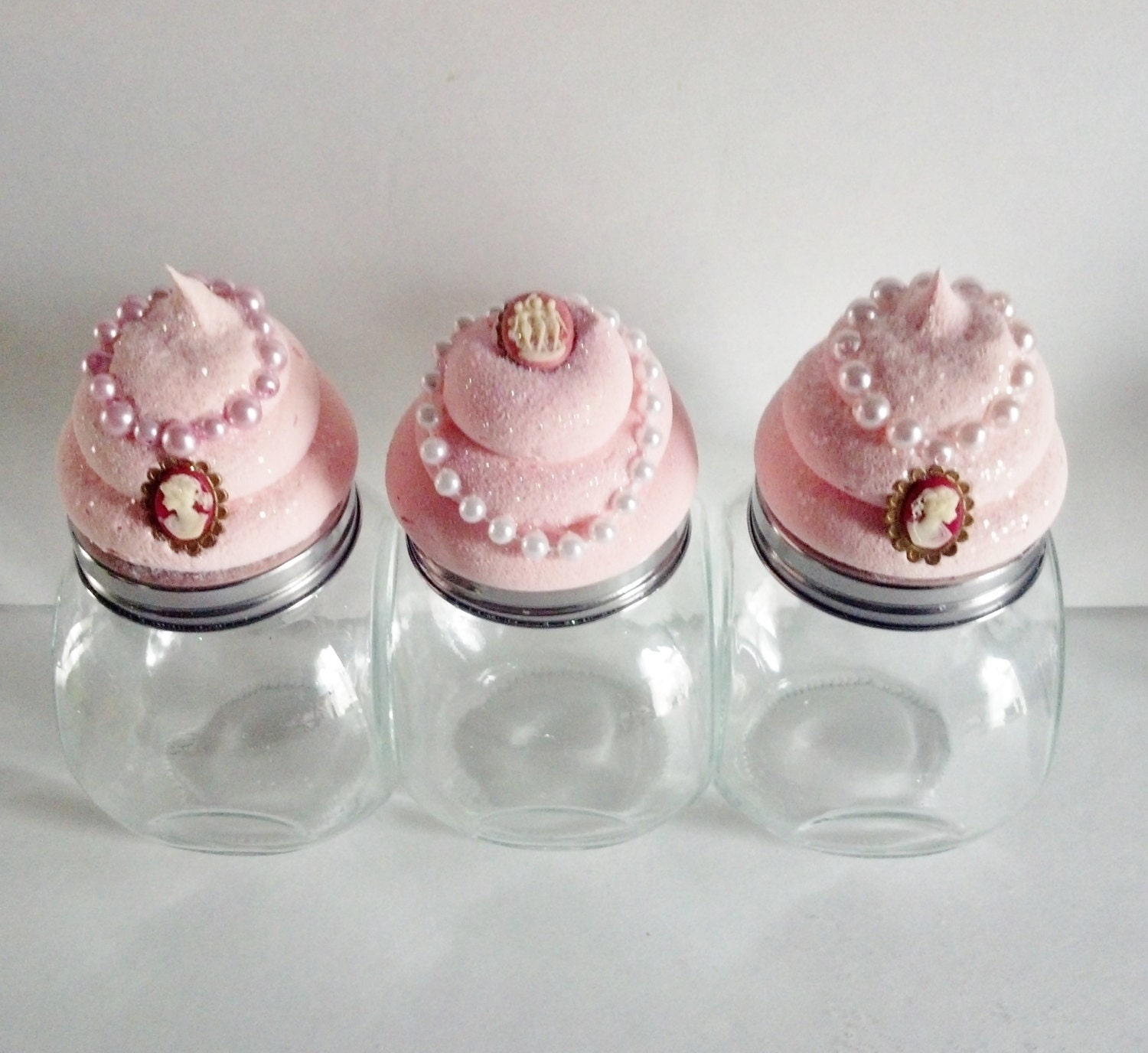 set of 3 cameo cupcake canisters jars by fakecupcakecreations