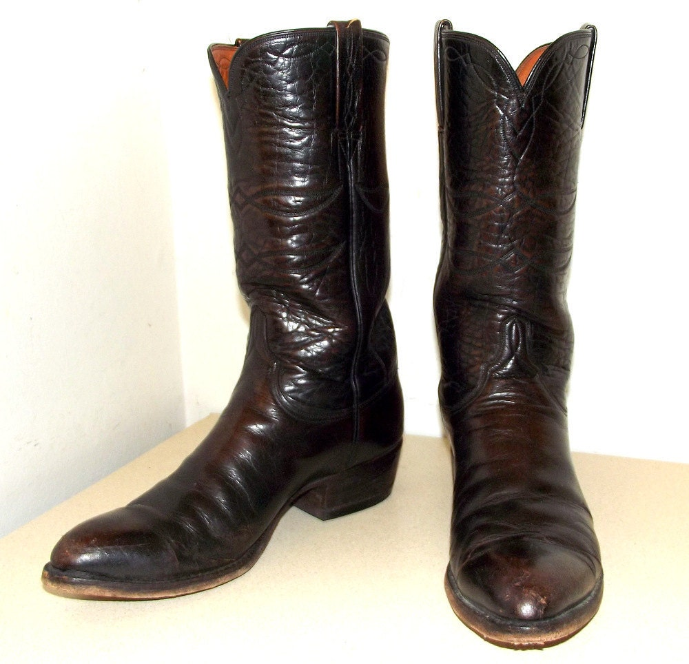 brown leather lucchese brand cowboy boots by