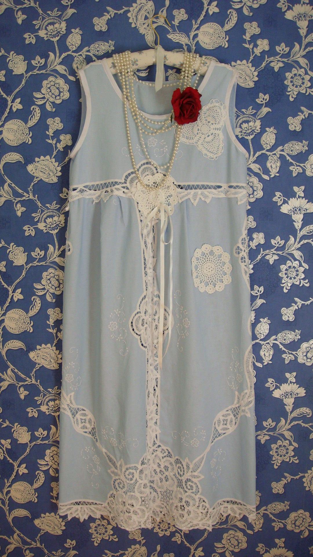 Beautiful Vintage Pale Blue and White Cotton Battenburg Lace Long Maxi Bridesmaid Garden Party Dress