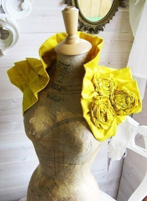 Regal Yellow Dupioni Raw Silk Wrap