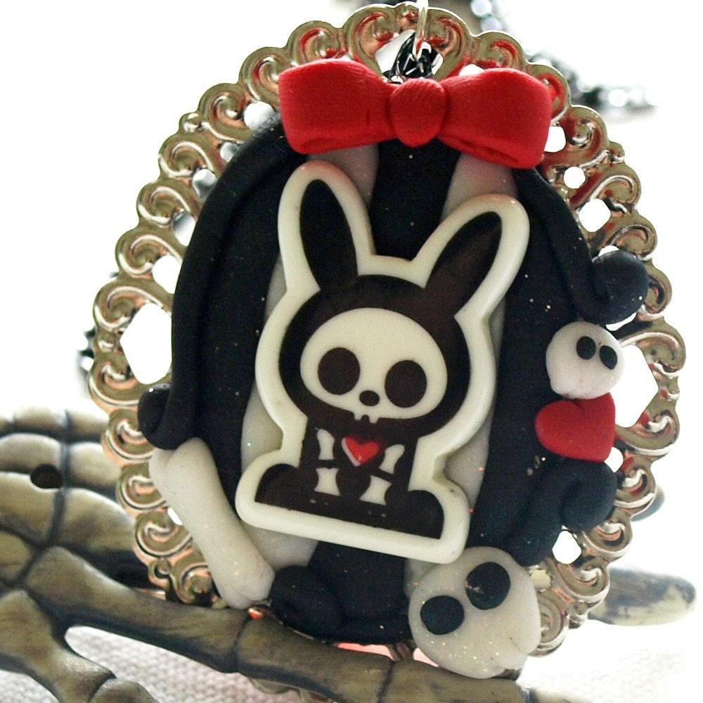 Skelebunny Clay Cameo Necklace by glamasaurus on Etsy from etsy.com