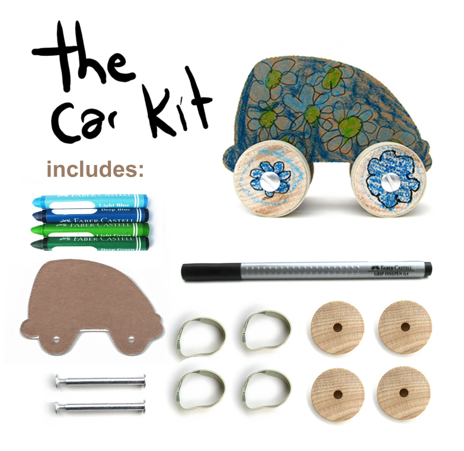 DIY kit - car- cool (blues,greens) colours- craft kit