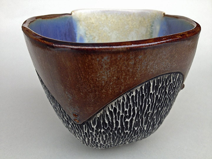 Rust Brown Industrial Style Cup with Blue, Purple & White Inside and Carved Texture. One of a kind, hand made by me. 3.5 x 4 inch. Food safe