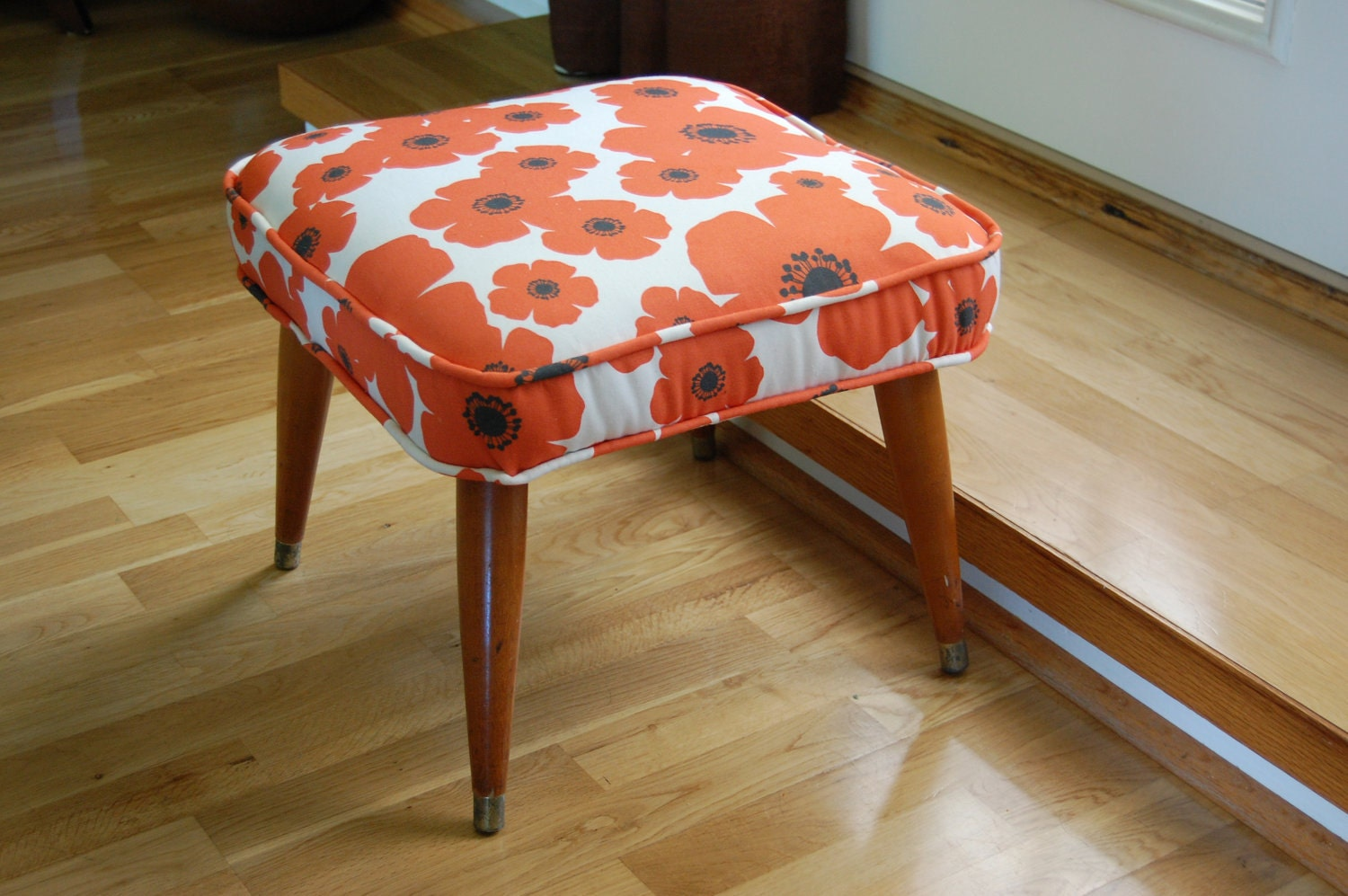 Mid Century Modern Up Cycled Footstool / Ottoman in Mod Orange Poppy Floral