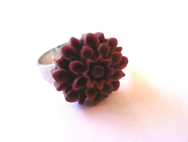 Maroon Flower Pinky Ring