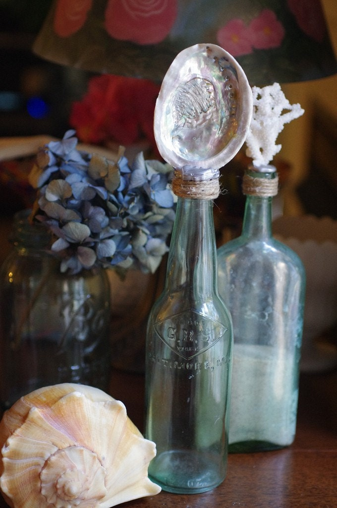 Vintage Aqua Glass Beer Bottle with Rough Abalone Shell